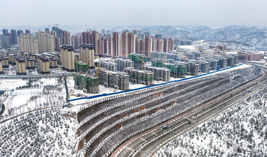 Schneebedeckte Stadt Yan'an in Luftaufnahmen