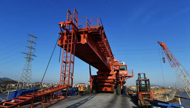 In Bildern: Baustelle der Meizhou-Bucht-Seebrücke der Hochgeschwindigkeitsbahn Fuzhou-Xiamen