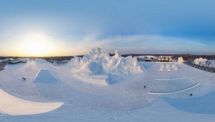 33. Internationale Kunstausstellung für Schneeskulpturen von Harbin Sun Island beginnt