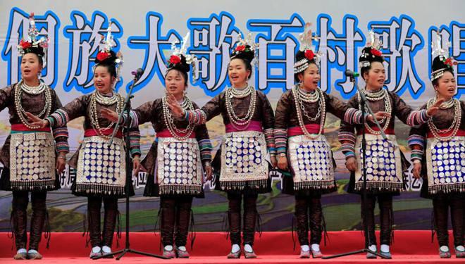 Chorwettbewerb der ethnischen Gruppe Dong im Kreis Congjiang im Südwestchina