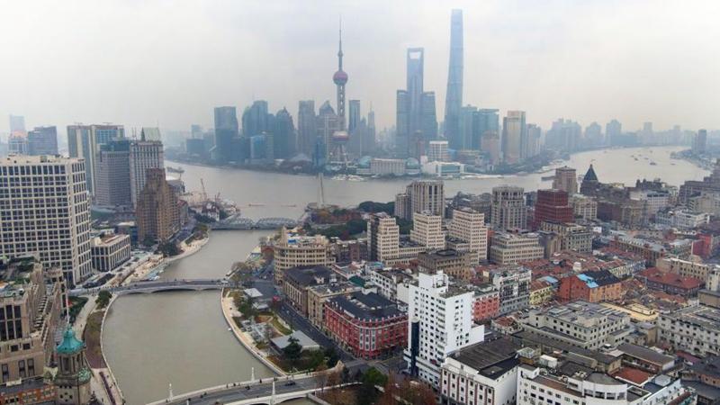 Ansicht entlang des Suzhou-Flusses in Shanghai