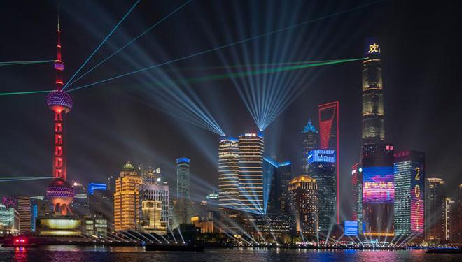 Lichtshow in Shanghai