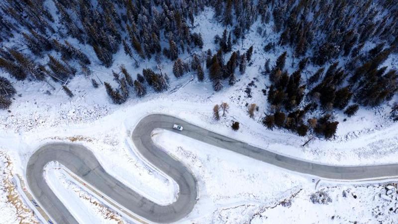 Winterlandschaft des Koktokay-Landschaftsgebiets in Xinjiang