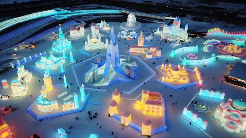 Ansicht der Eis-Schnee-Welt in Harbin