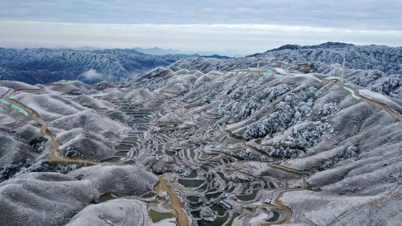 Schneelandschaft in Südchinas Guangxi