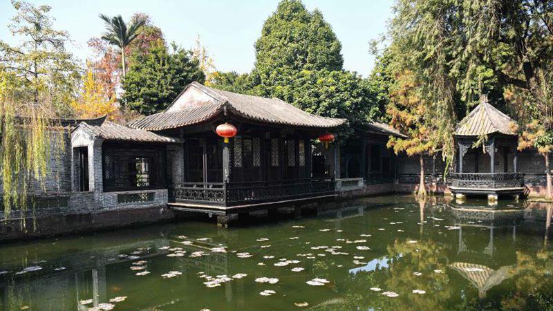 Landschaft des Qinghui-Gartens in der Stadt Foshan in Guangdong
