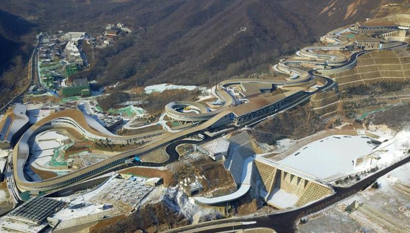 Luftaufnahmen von Wettkampfstätten im Bezirk Yanqing in Beijing