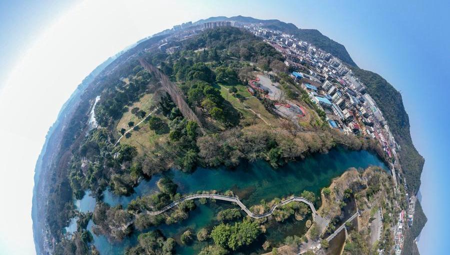 Winterlandschaft im Huaxi Nationalen Feuchtgebietspark der Stadt Guiyang