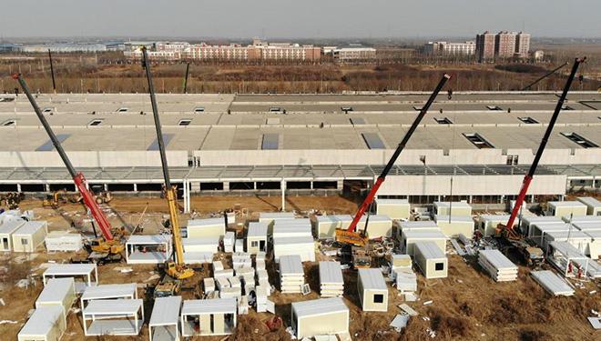 Im Bau befindliches COVID-19-Quarantänezentrum in Nangong von Chinas Hebei