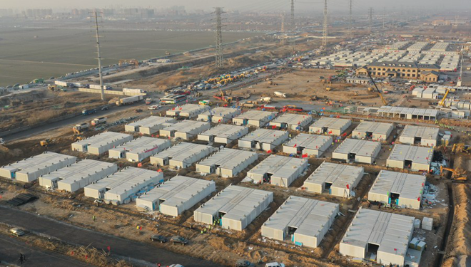 Corona-Quarantänezentrum in Shijiazhuang in Nordchina nahe der Fertigstellung