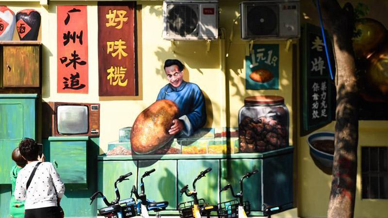 Wandgemälde in Guangzhou ziehen viele Besucher an