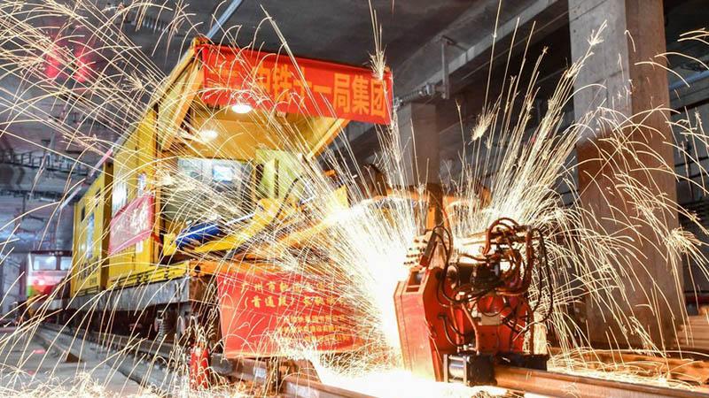 Guangzhou in China macht großen Fortschritt beim Bau der neuen Metrolinie 18